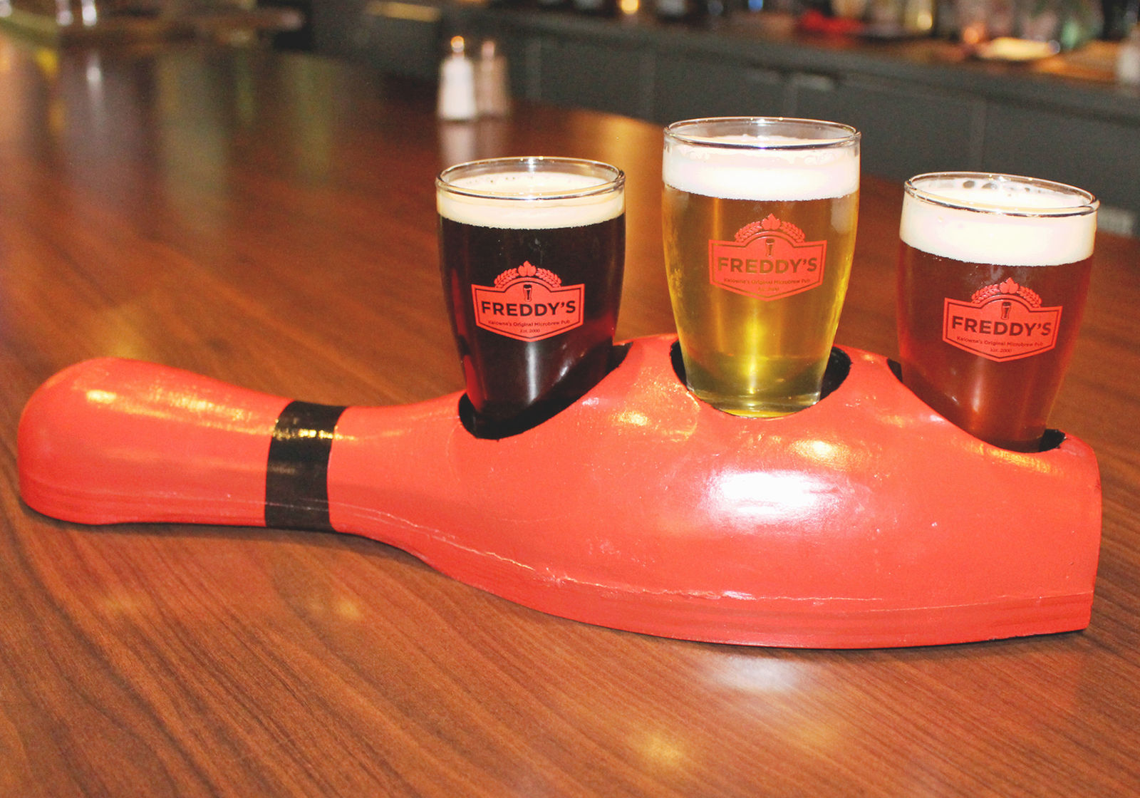 (Image courtesy of McCurdy Bowling Centre and Freddy's Brewpub) Bowl and try some of the tasty craft ales at Freddy's Brewpub in the McCurdy Bowling Centre, located just down the road from the Comfort Suites Kelowna hotel.